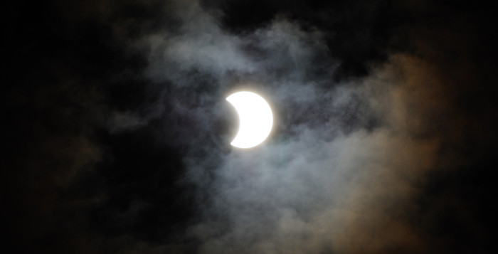 a partial solar eclipse at night