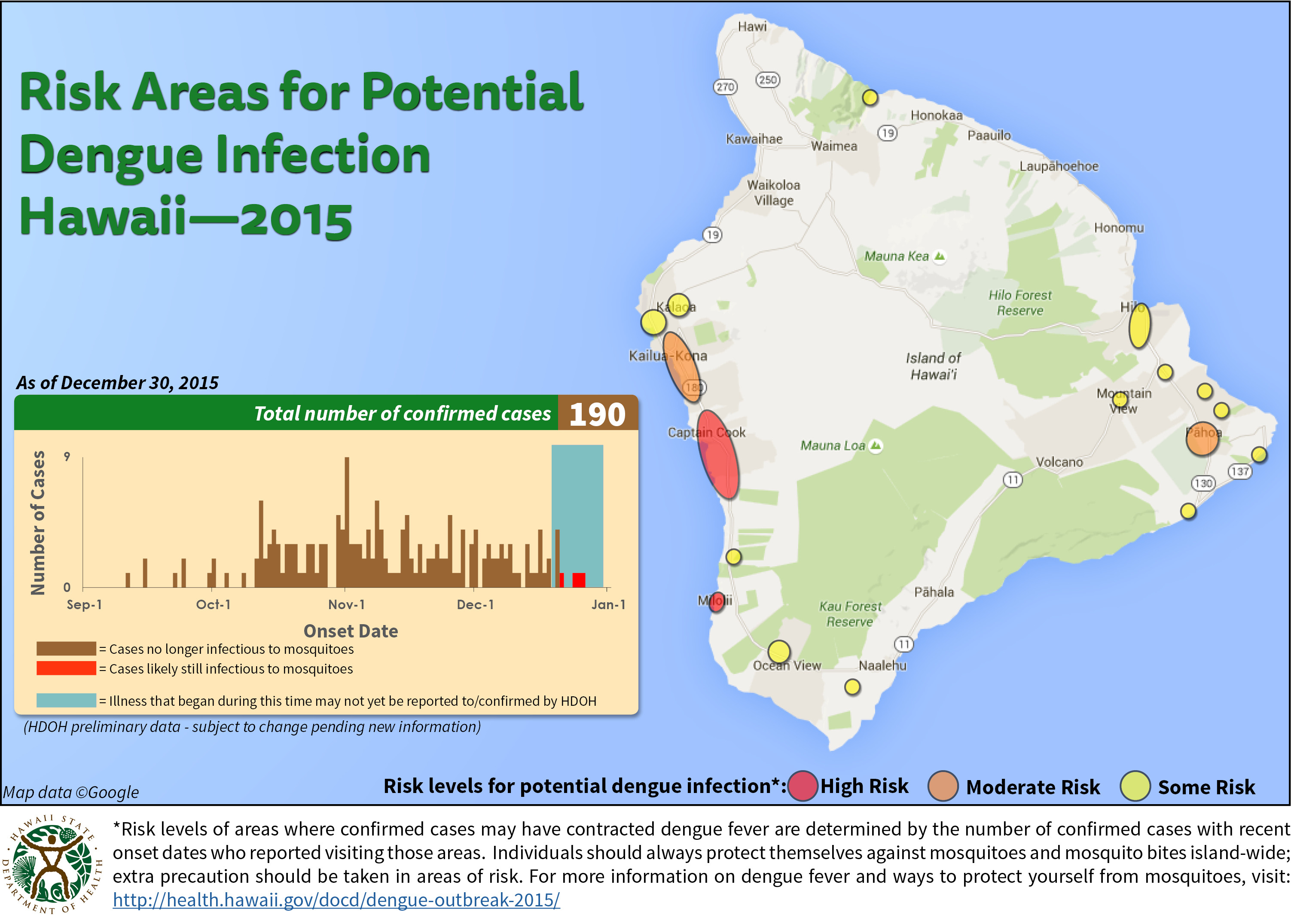 a map of the dengue fever outbreak on the big island in hawaii