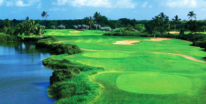 a golf course on an ocean