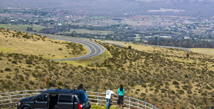 people on a road on haleakala