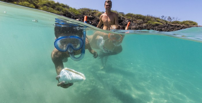 a snorkeler with a shell
