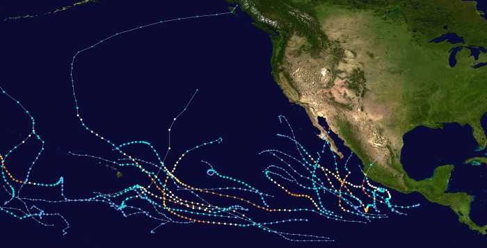 hurricane tracks in the pacific ocean