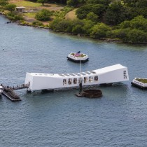 an aerial view of the u.s.s. arizona memorial