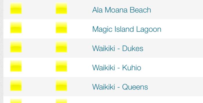 a screenshot of a beach conditions website