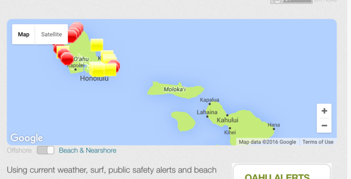 a screenshot of a website featuring beach conditions and a map of beaches