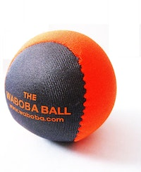 an orange and blue waboba ball