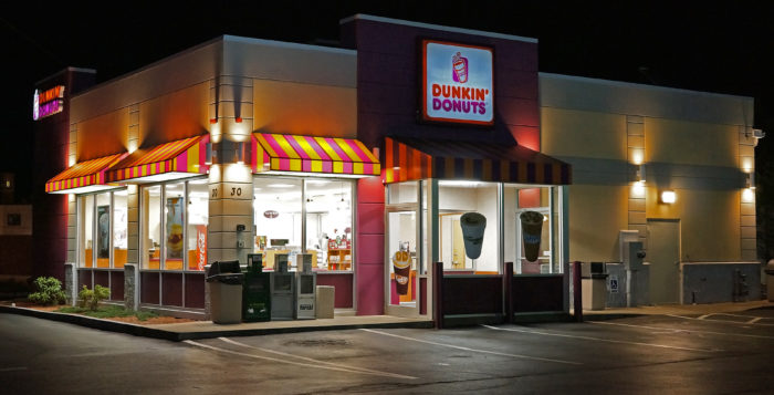 the exterior of a dunkin donuts
