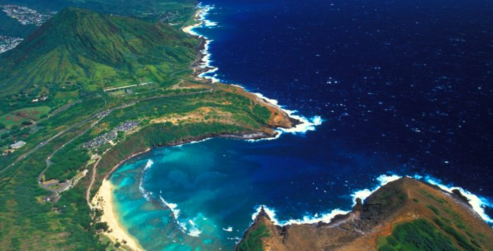 a scenic shot of hanauma bay from above