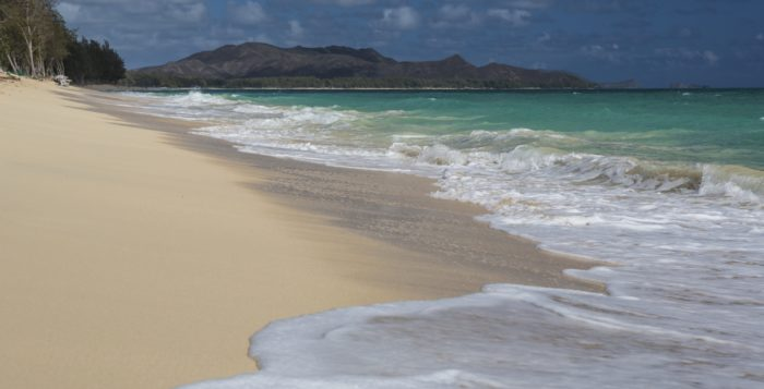 sand and waves at waimanalo beach park