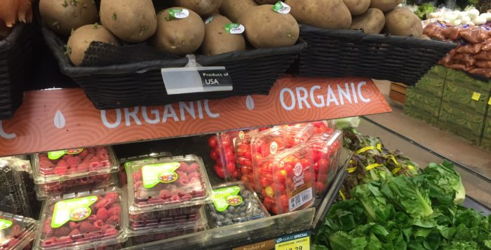 the organic section of a grocery store