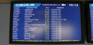 a monitor with flight cancellations