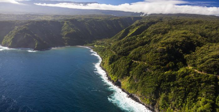 an aerial view of the road to Hana