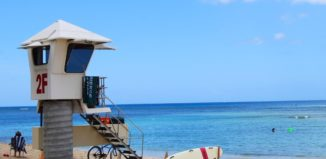 a lifeguard tower at waikiki beach