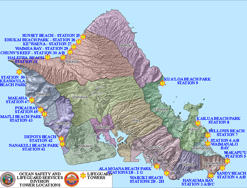 a map of oahu showing the lifeguard stations