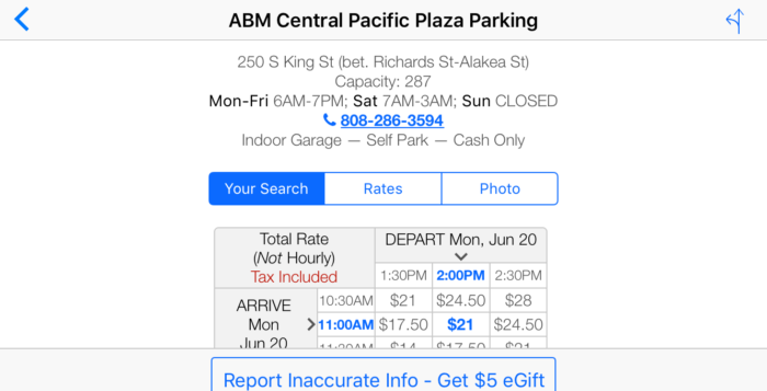 a screenshot of a parking website, including price and location