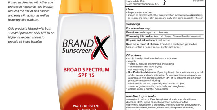 a bottle of sunscreen next to a list of ingredients