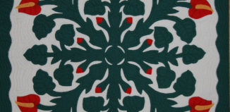 a green and red flower on a hawaiian quilt