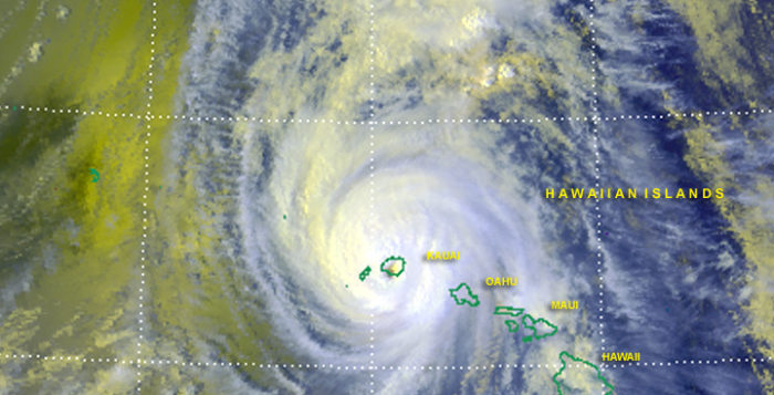 hurricane iniki in a satellite image