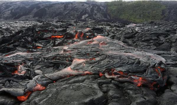 lava flow cooling on a slope