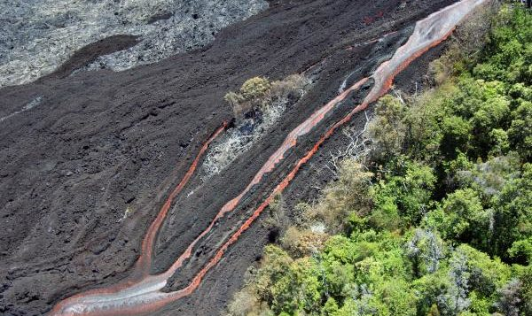 lava flowing down a slope