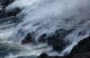 lava entering the ocean on the big island of hawaii