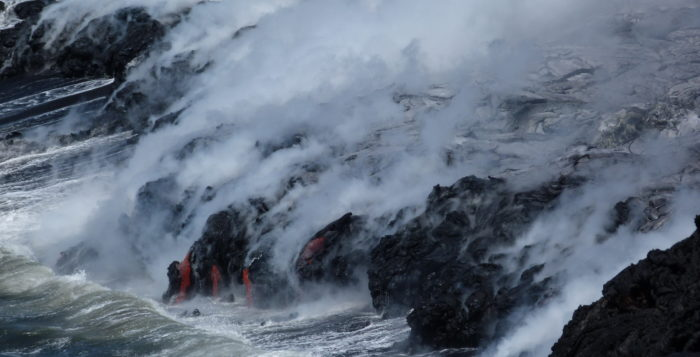 lava entering the ocean on the big island of hawaii
