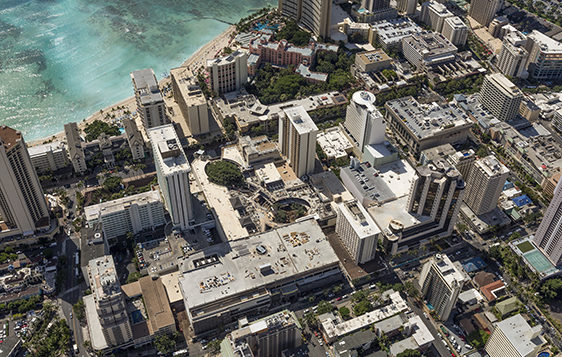 an aerial view of waikiki