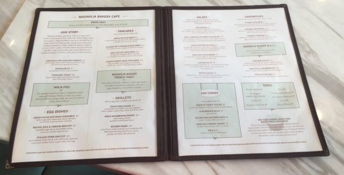 a menu on a table