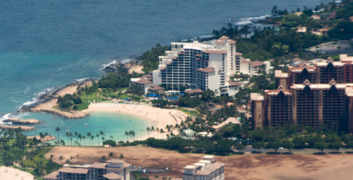 an aerial view of ko olina resort area on oahu