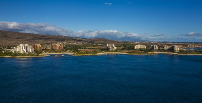 an aerail view of ko olina on oahu