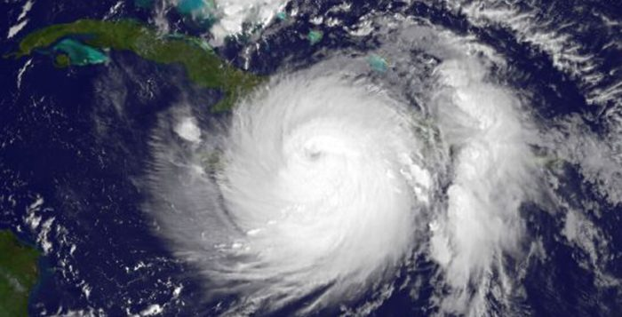 a satellite image of hurricane matthew