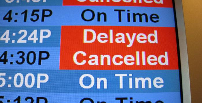 a flight schedule board