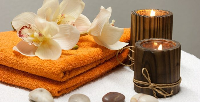 spa treatment accessories on a table