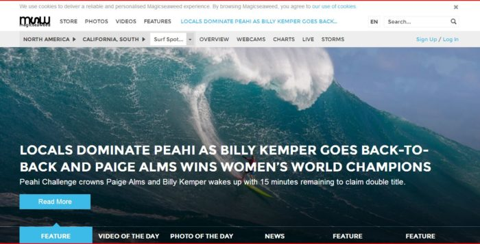 a screenshot of the magicseaweed.com website