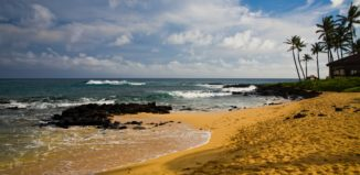 a beach on kauai with two inlets