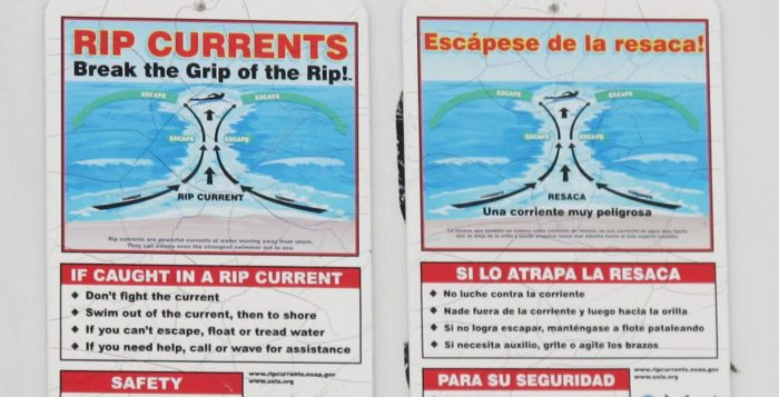 signs about rip currents