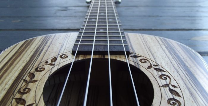 Close up of Ukulele strings