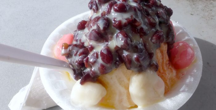 shave ice with azuki beans on top