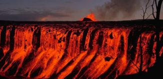 Lava cascading over a cliff