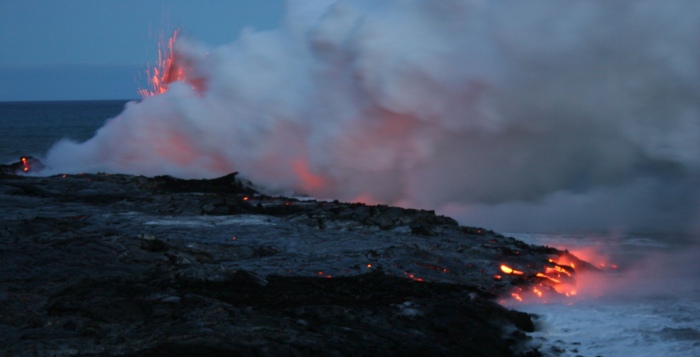 Lava entering the sea