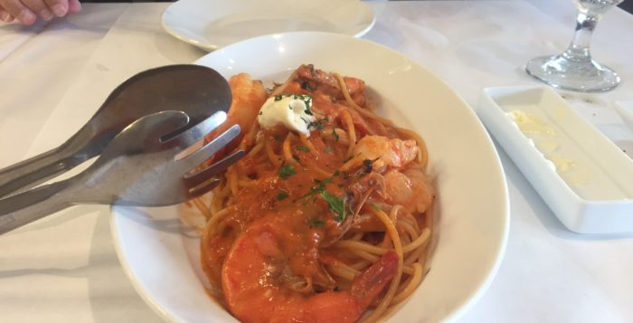 a shrimp and pasta dish