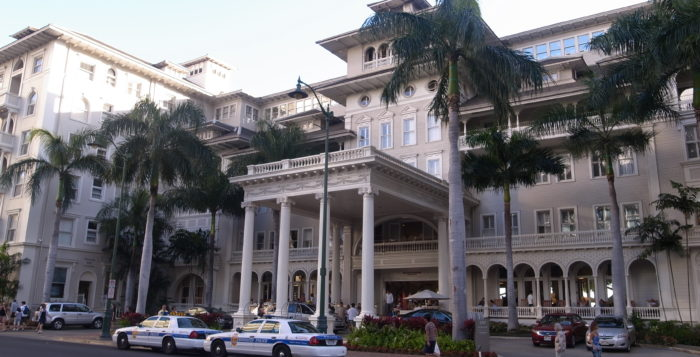 the exterior of the moana surfrider hotel