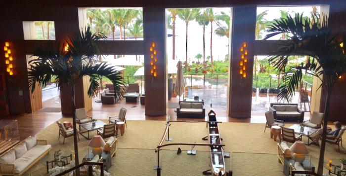 a lobby in a hotel