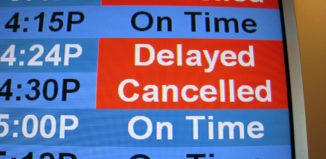 Delayed & cancelled flight sign