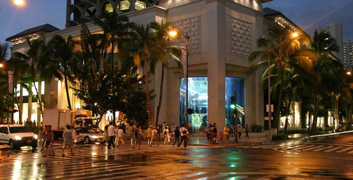 People crossing street in Waikiki
