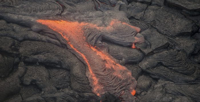 lava oozing on a flow