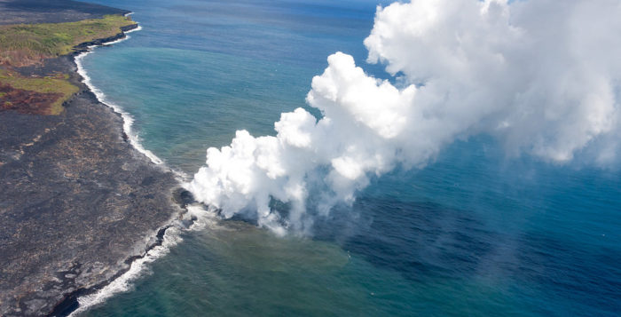 a vog plume over the ocean