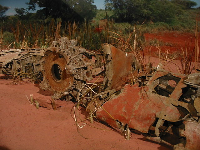 Rusted wreckage of Japanese Zero