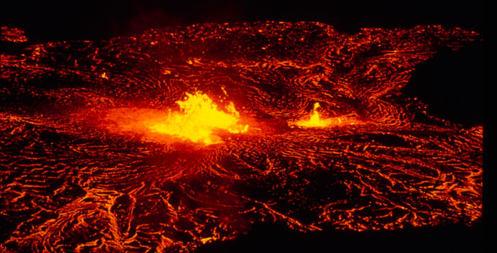 Night time shot of lava