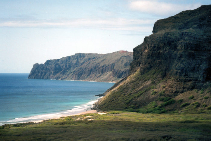 Aerial shot of Niihau cliffs